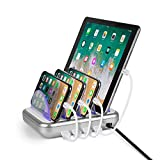 Merkury Innovations 4.8 Amp 4-Port USB Charging Station Fast Charge Docking Station for Multiple Devices - Multi Device Charger Organizer - Compatible with Apple iPad iPhone and Android (White/Silver)