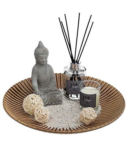 Atmosphera - Coffret Senteur Zen Diffuseur Parfum 6 Bâtonnets, 1 Bougie parfumée Pot en Verre, 1 Bouddha et Accessoires