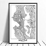 Leinwanddruck,Seattle Schwarz Weiß Benutzerdefinierte Welt