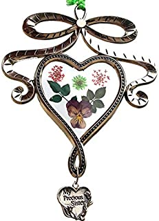 My Precious Sister New Bow knot Heart Suncatchers Glass Sister Wind Chime with Pressed Flower Hearts Embedded in Glass with Metal Trim Sister Heart Charm Gifts for Sister Sister for Birthdays Christma