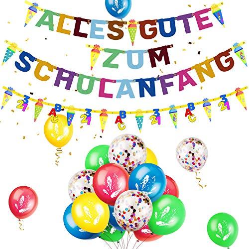 iZoeL Schulanfang Einschulung Schuleinführung Deko Alles Gute Zum Schulanfang Girlande + Zucketüte Banner + 15 Konfetti Luftballon für Junge Mädchen