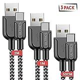 ULTRICS Cavo USB C, (3 Pezzi 0.5M, 1M, 2M) Nylon Intrecciato USB Type-C Cavi, Alta Velocit...