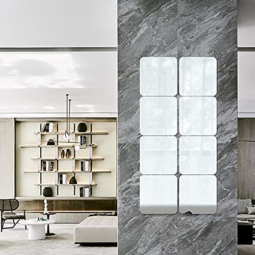 DriSubt Pegatinas de pared de espejo, 0,06 cm de grosor, autoadhesivas, con esquinas redondeadas, 20 cm, 4 unidades