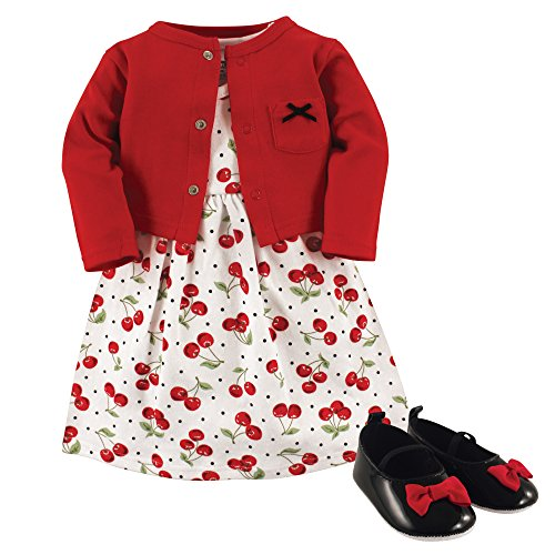 Hudson Baby Girls' Cotton Dress, Cardigan and Shoe Set, Cherries, 6-9 Months