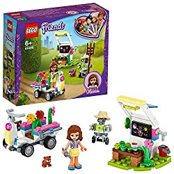 The fast-to-build starter building set features a plant-collecting vehicle and a greenhouse where kids can pretend to grow blooms and fruit Olivia's Flower Garden includes a buildable mini-doll figure, farmer Zobo the robot figure, cute hamster figur...