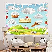 GOOESING タペストリー リビングルームの夏休みのテーマ 漫画 アイスクリーム デザート おしゃれなタペストリー 壁掛け装飾