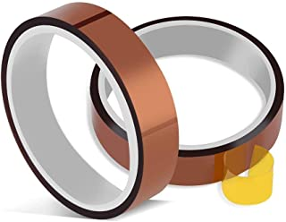 High Temperature Heat Resistant Tape No Residue Heat Transfer Tape Sublimation Tape Polyimide Tape Sublimation Heat Tape PI Tape 2 Rolls 10mm X 33m 100ft