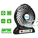 Portable USB Fan Battery Operated Fan with Flashlight, Quiet and Powerful Rechargeable Desk Fan for Phone Charge, Outdoor, Office, Backpacking (New Black)