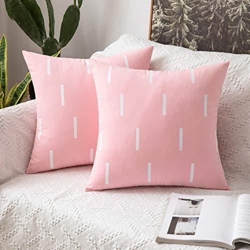 MIULEE 2 Unidades Fundas de cojín para sofá Almohada Caso de Diseño Compuesto de Rayas Cortas Cómodo Decoración para Habitacion Juvenil Sofá Comedor Cama Dormitorio Oficina 45x45cm Rosa