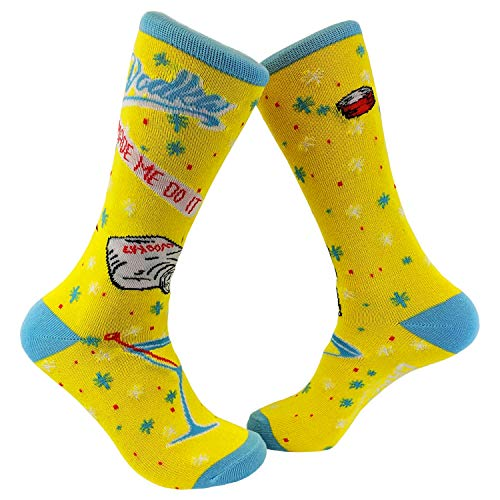 Vodka Made Me Do It Sock Funny Party Drinking Footwear (Yellow) - Womens (5-10)