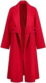 Woolen coat women's waist double-faced cashmere coat Ladies Winter Trench Fashion Longline Check Coat Plus Size Women Jackets