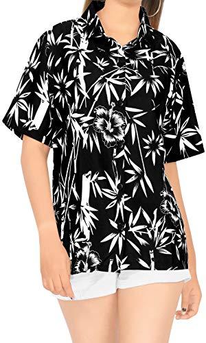 LA LEELA Encubrir Ropa de Playa Hawaiano Camisa de Vestir de Manga Corta Blusa Superior con Botones l Damas Halloween Negro_X43