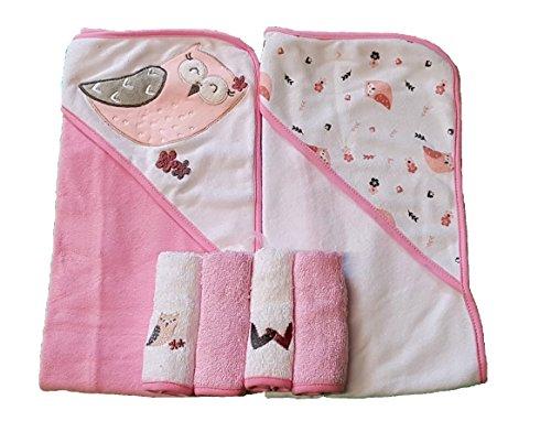 Süßes Baby Set 6tlg~ Eule ~ 2x Kapuzenhandtuch 4x Waschtuch Mädchen Geburt