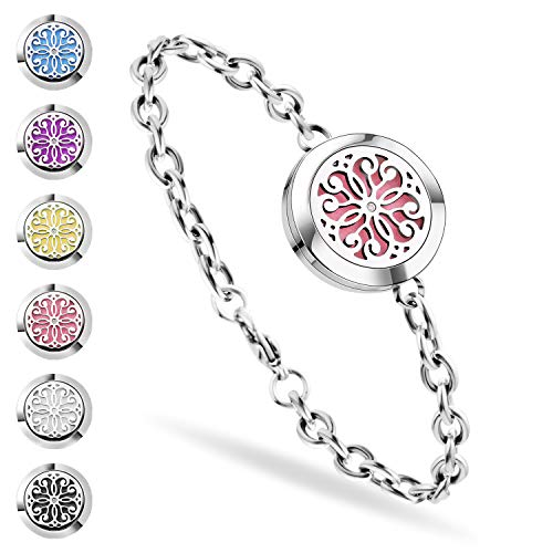 ss shovan Aromatherapy Bracelet, Essential Oil Diffuser Bracelet Stainless Steel Aromatherapy Locket Bracelets for Women with 6 Color Pads,Girls Women