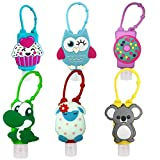 6Pcs Portable Empty Bottles Hand Sanitizer Bottles Holder Cartoon 30ml Leak Proof Refillable Plastic Travel Bottles with Detachable Silicone Protective Case Liquid Soap Containers for Kids (Style A)