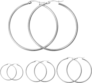 Calors Vitton 4 Pairs Stainless Steel Round Hoop Earrings for Women 15mm-60mm