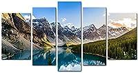 5ピースウォールアート5ピースモレーン湖と山脈サンセットカナディアンロッキー山脈の風景