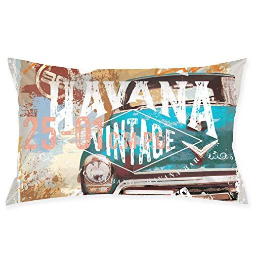 Shanzhi Vintage Cuba Style Velvet Oblong Lumbar Plush Throw Funda de almohada/funda de cojín decorativo invisible con cremallera diseño de 50 x 70 cm