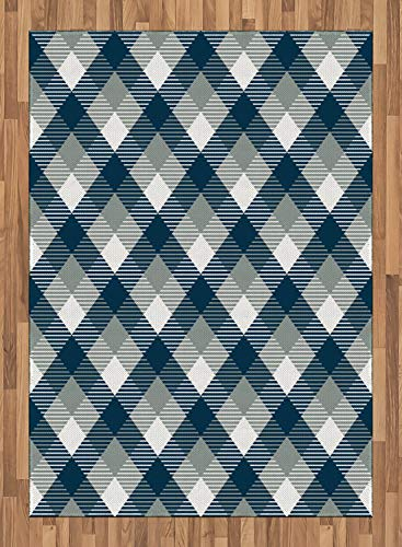 ABAKUHAUS Náutico Alfombra de Área, Tartán Damero Abstracto Geométrico Cuadros con Efectos de Escocés, Material Durable Resistente a Las Manchas Apta Lavadora, 160 x 230 cm, Azul Oscuro