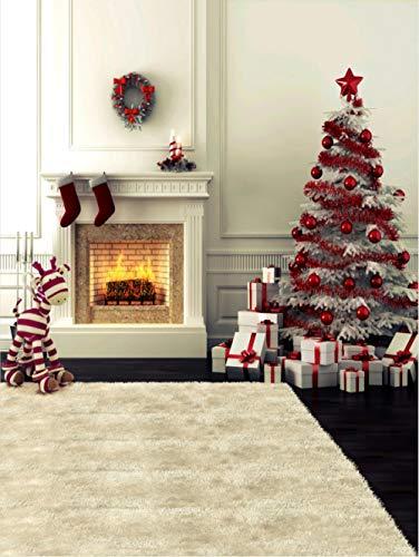 Fondo Fotografia para Portrait Fotógrafos Estudio Foto Fondo Prop Video Televisión Photocall5x7FT(1.5mx2.1m) Chimenea de árbol de Navidad