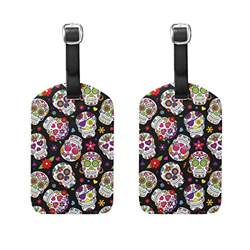 Sugar Skull Luggage Tags 2 Pieces Set Travel ID Bag Tag for Suitcase