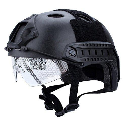 Zerone Gafas de Casco Táctico, Casco Estilo Militar Negro Casco de Visión Nocturna Montaje Rápido y Riel Lateral para Disparar CQB Airsoft Paintball