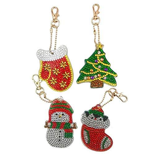 4 Stücke Weihnachten Volle Bohrer Spezielle Förmigen Diamant Malerei Tasche Harz Klassische Glanz Delicate Einzigartige Keychain