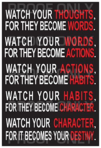 13x19 Watch Your Thoughts - Motivational Wall Decal Poster (13' x 19') / Dorm Decal Poster / Class Room / Indoor & Outdoor