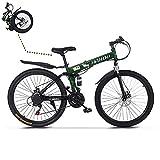 TOUNTLETS 26 Inch Womens Mountain Bike,Full Suspension Folding Mountain Bike City Commuter with...