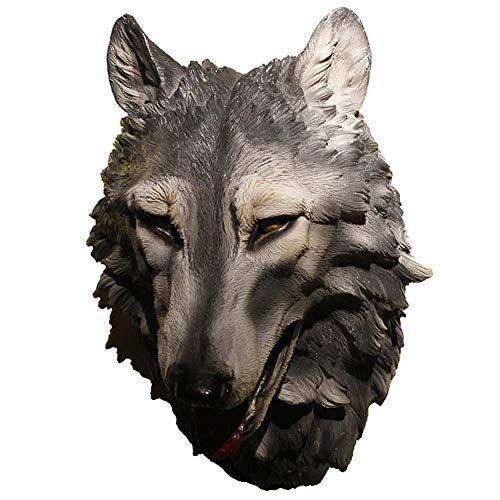 Wolf Head Wall Decoración De La Pared, Cabeza Animal Escultura Trofeo Trofeo Modelo Colgando Modelo De Resina Antigua Antigua Nostatalle Replica Sala De Pared Restaurante Bar Bar Decoración Creativa