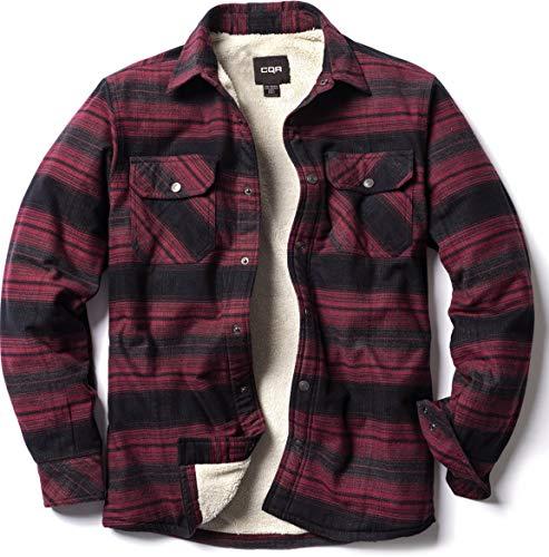 CQR Herren Sherpa gezeichneter Flanellhemd Jacke, weiche Langarm Rugged Plaid Button Up Jacke, Hok710 1pack - Bloody Moon Plaid, XXL