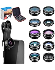 Apexel 10 in 1 Cell Phone Camera Lens Kit Wide Angle Lens & Macro Lens+Fisheye Lens+Telephoto Lens+CPL/Flow/Radial/Star Filter+Kaleidoscope 3/6 Lens for iPhone Samsung Sony and Most of Smartphone (10 in 1)