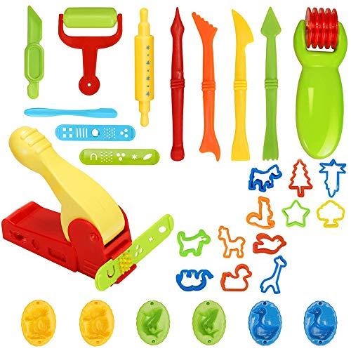 Knete Zubehör Set, 30 Stück Knetwerkzeug Teig Plastilin Werkzeuge, Knete Werkzeug Kinder Knete Zubehör Spielzeug, Ausstechformen Extruder Küchenspielzeug Modellierwerkzeug Knetwerkzeugset