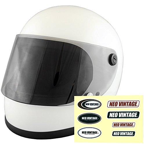NEO VINTAGE レトロ族ヘルタイプ フルフェイス SG規格品 ステッカー付 [ホワイト×ライトスモークシールド 白 Lサイズ:59-60cm対応] VT-7 バイクヘルメット