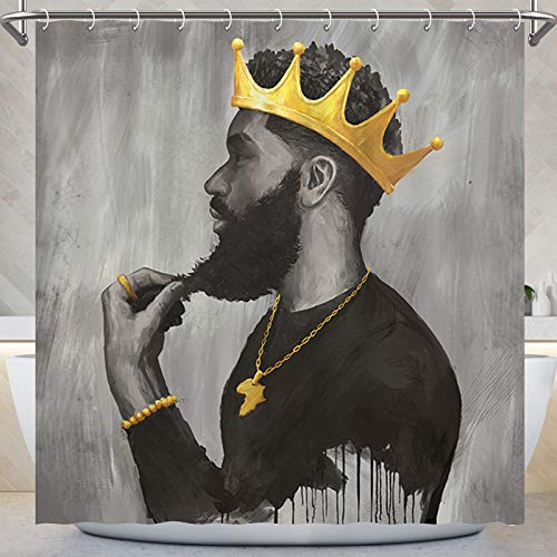 KOYI Black King Shower Curtain,African American Men Wear Gold Crown Shower Curtain,African Black Proud Man Spirit Bath Curtain Bathroom Decorations,Waterproof Polyester Fabric,72x72 Inches with Hooks