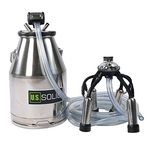 Cow Milking Machine-25L Stainless Steel Milk Bucket with Milk Lid, Pneumatic Pulsator, Milk Claw, and Milk Tube, 304 Stainless Steel Milker, FDA, SGS, CE, and ISO Certified, a U.S. Solid Product
