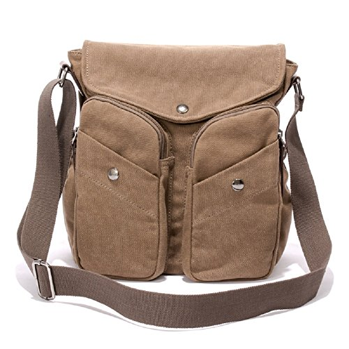 Men's Crossbody Bag, MiCoolker Multifunctional Military Men Canvas Messenger Bag Satchel School Messenger Bags Cross Body Everyday Travel Bag