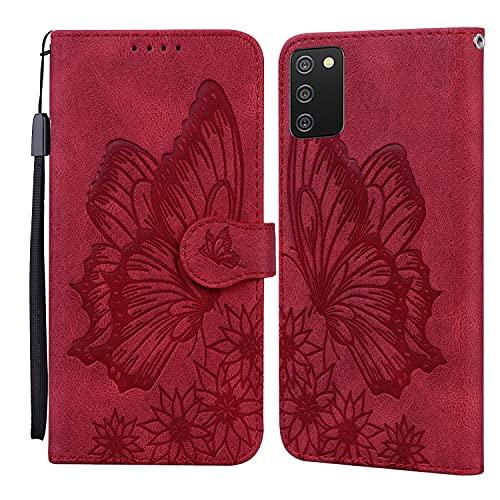 JRIANY Hülle für Samsung Galaxy A02S Lederhülle Brieftasche Handyhülle mit Schmetterling Blume Muster PU Leder Tasche Hülle Klapphüllen Standfunktion Magnetverschluss Stoßfest Schutzhülle, Rot