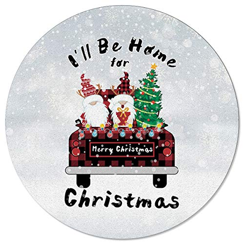 OneHoney Round Area Rugs 6ft, Retro Plaid Truck and Christmas Dwarf Indoor Throw Runner Circle Rug Entryway Doormat Floor Carpet Pad Yoga Mat for Bedroom Living Room Snow Scene