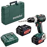Metabo 602325500 602325500-Taladro Atornillador sin escobillas a bateria 18V / 2X 4,0 Ah Li-Ion BS 18 LT BL con maletín, 1 V, Negro, Size