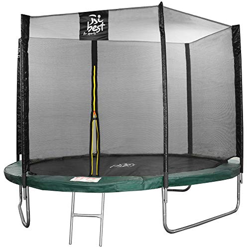 Best for sports trampoline with TÜV Intertek and GS certificate, with safety net, ladder, rain cover with Anker kit, up to 180 kg., Green, 305 cm