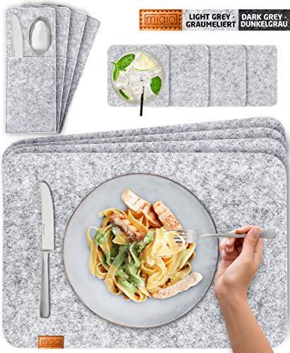 Miqio® Design Filz Tischset abwaschbar | Mit Marken Echtleder Label | 12er Set - 4 Platzsets abwaschbar, Glasuntersetzer, Bestecktaschen | grau meliert | Filzmatte Platzdeckchen abwischbar