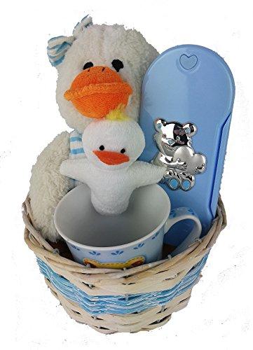 Plüsch Ente und Tasse Korb mit Porta Besteck blau und pink