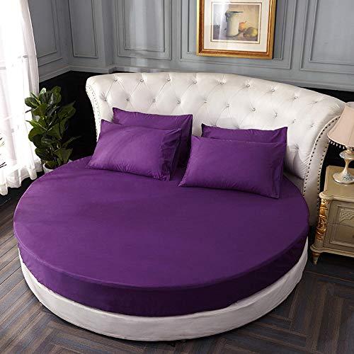 HPPSLT Protector de colchón, con Aloe Vera, (Todas Las Medidas) Cama Redonda de algodón para Hotel-Violeta_1,8m