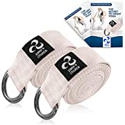 pete's choice 2-Pack or 5-Pack Yoga Exercise Adjustable Straps 8Ft | Bonus eBook | with Durable D-Ring for Pilates & Gym Workouts | Hold Poses, Stretch, Improve Flexibility & Maintain Balance