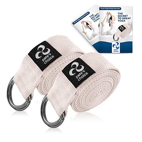 Correas de Yoga Ajustable de 2,4 m – 2 x Pack I Incluye eBook I Correa de Estiramientos con Hebilla en D para Pilates, Gimnasio Fitness I Ideal para Estiramientos Flexibilidad, Yoga Stap