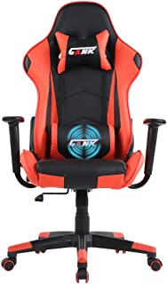 GANK Gaming Chair Racing Office Computer Chair High Back PU Leather Swivel Chair with Adjustable Massage Lumbar Support and Headrest (Red)