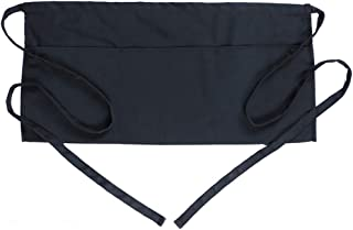 BOHARERS Waist Apron with 3 Pockets - Black Waitress Waiter Server Half Short Aprons Kitchen Restaurant for Women Men Server, 24 X 12 for Holding Server Book Guest Check Card Holder
