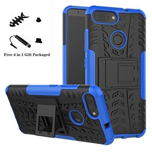 LiuShan ASUS Zenfone Max Plus M1 ZB570TL Hülle, Dual Layer Hybrid Handyhülle Drop Resistance Handys Schutz Hülle mit Ständer für ASUS Zenfone Max Plus (M1) X018DC(ZB570TL) Smartphone,Blau