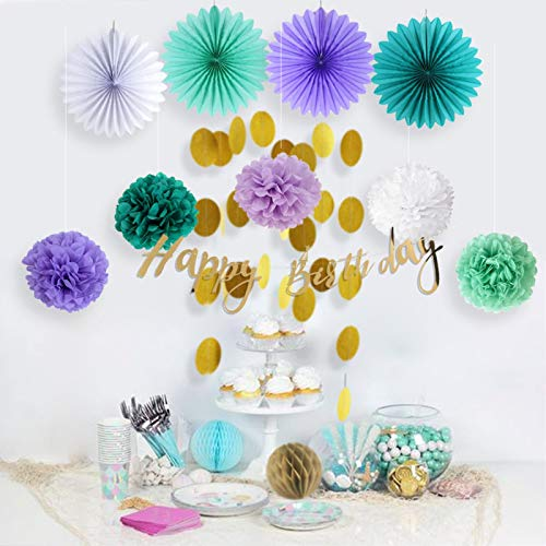 Paper Decoration Party Let's Be Mermaid Party Decoration Set Happy Birthday Banner Circle Garland Tissue Fans Pom Poms Honeycomb Balls Birthday Girls